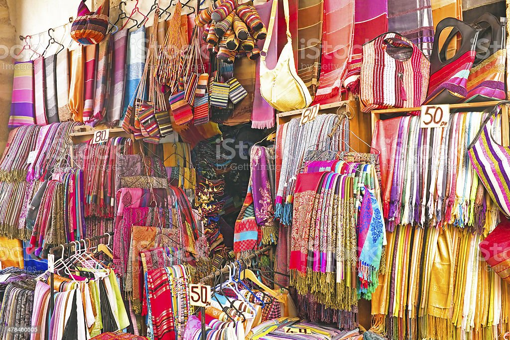 Handcrafts shop at the market in Morocco Handcrafts shop at the market in Morocco Abstract Stock Photo