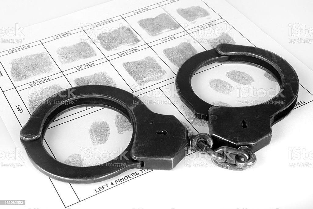 Handcuff und Fingerabdruck – Foto