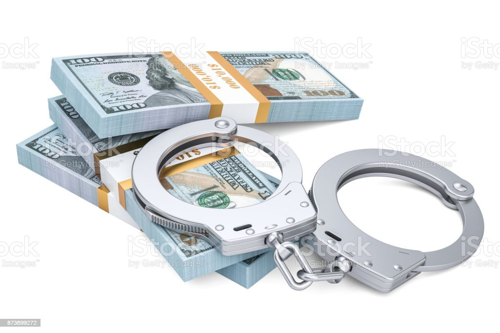 Handcuffs and dollar packs, crime concept. 3D rendering isolated on white background stock photo