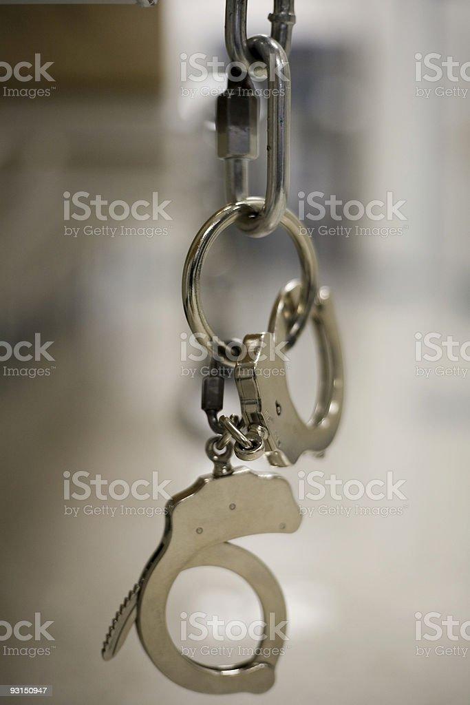 Handcuffs at Local Jail. royalty-free stock photo
