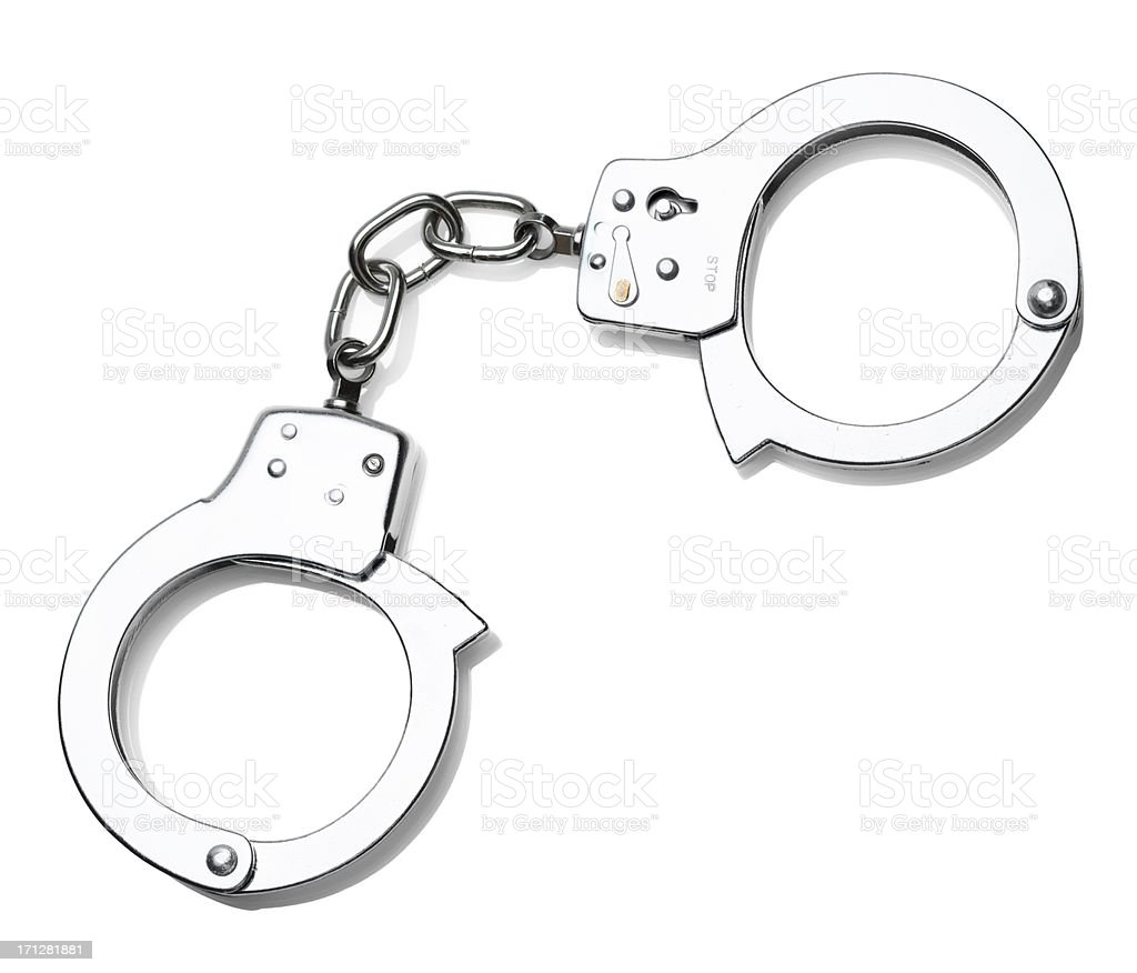 Handcuffs - Isolated on White stock photo