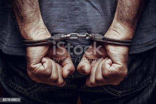 Arrested man in handcuffs