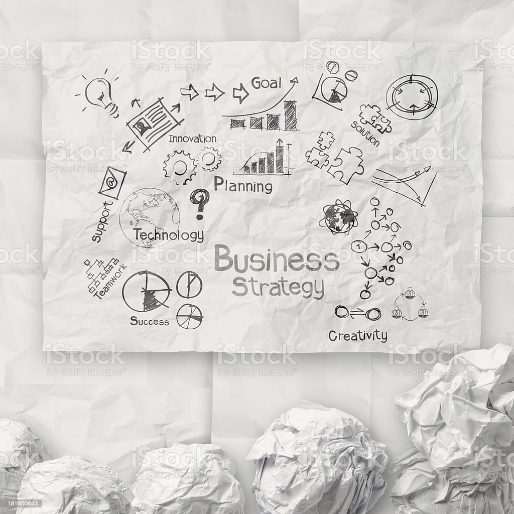 Hand-drawn brainstorm business strategy on crumpled paper royalty-free stock photo