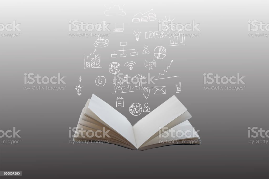 Hand-drawn financial plans and charts coming out of an open book vector art illustration