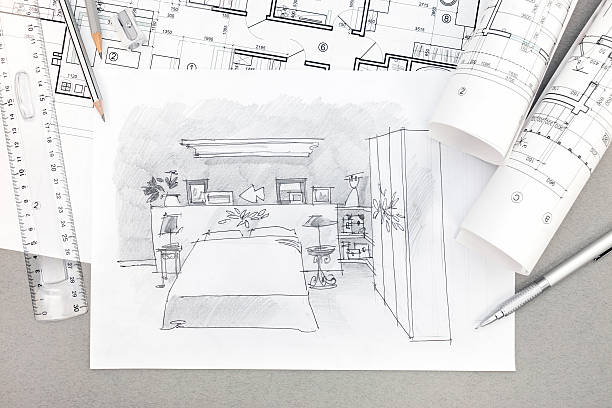 ... hand-drawn illustration of bedroom interior with drawing tools stock  photo bedroom planning design ...