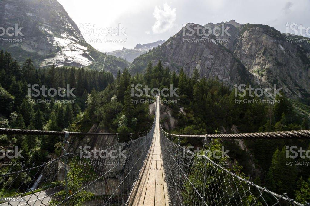 Handeck bridge over Grimsel pass in Switzerland stock photo