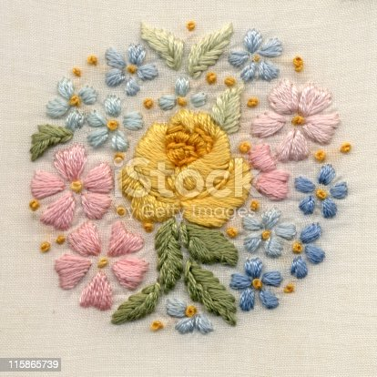 Antique hand embroidery. Satin stitch and French knots. Cotton on cotton. Original motif 2 1/4