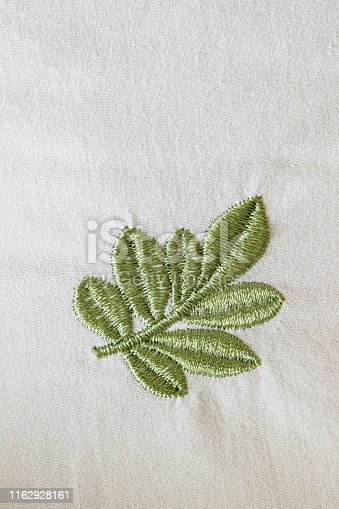 Hand-embroidered leaf pattern, Chinese embroidery, pattern stitched on the cloth
