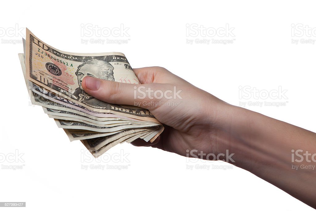 handful of cash stock photo