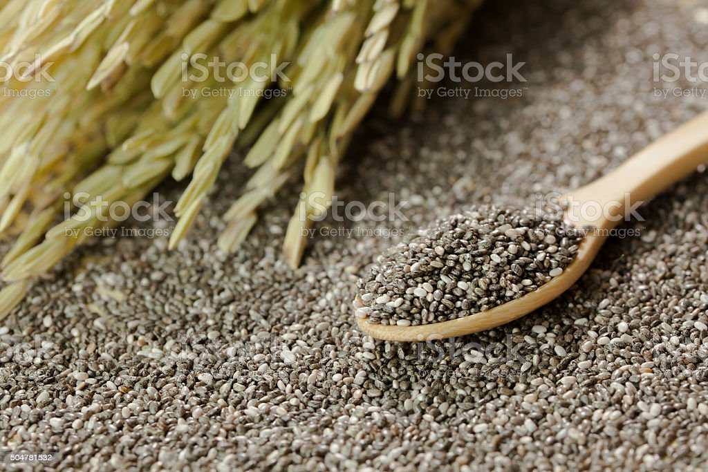 Handful of chia seeds on wood spoon and background stock photo