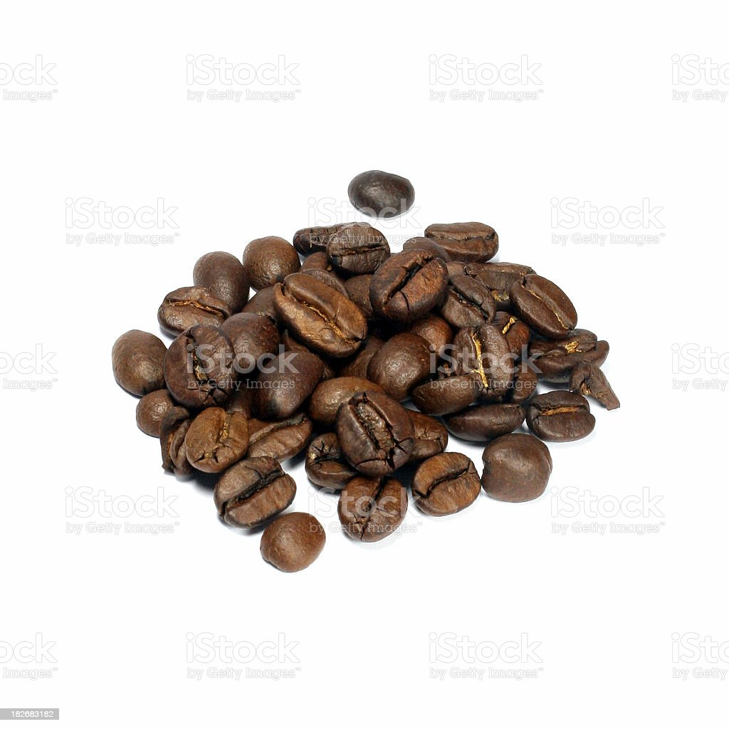 Handful of coffee beans, isolated on white background royalty-free stock photo