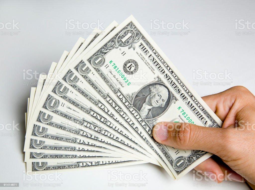 Handful of Dollar Bills stock photo