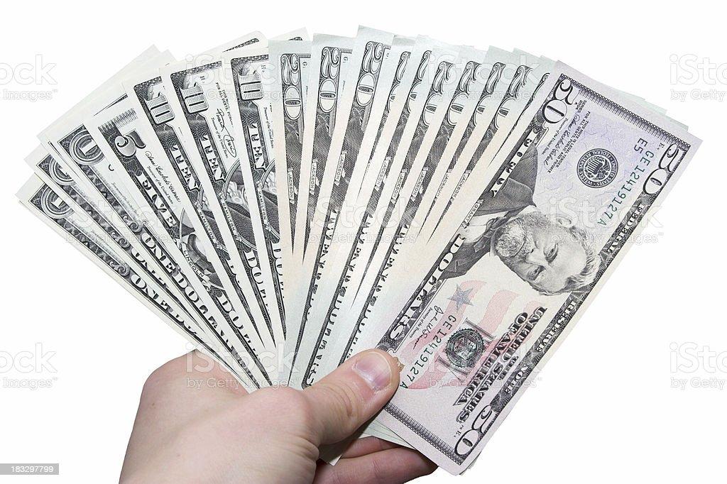 Handful of dollars royalty-free stock photo
