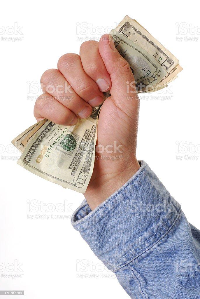 Handful of money stock photo