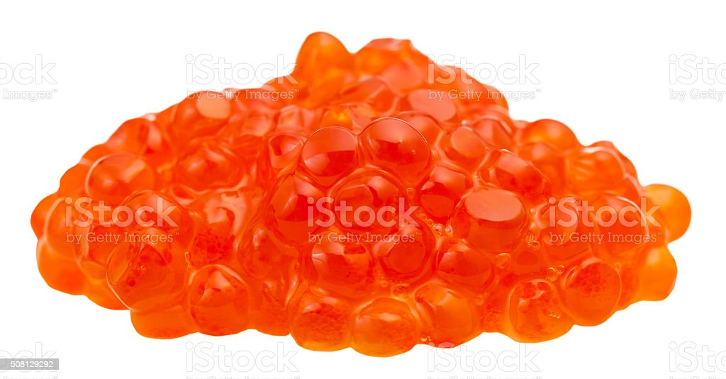 handful of red salmon fish red caviar isolated stock photo