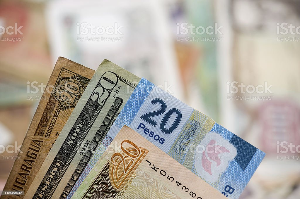 Handful of Twenties stock photo