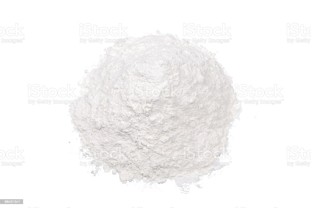 Handful of wheat flour isolated stock photo