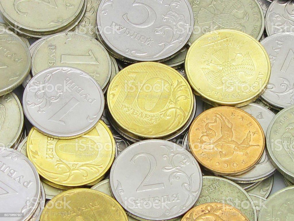 Горсть Российской монеты крупным планом стоковое фото