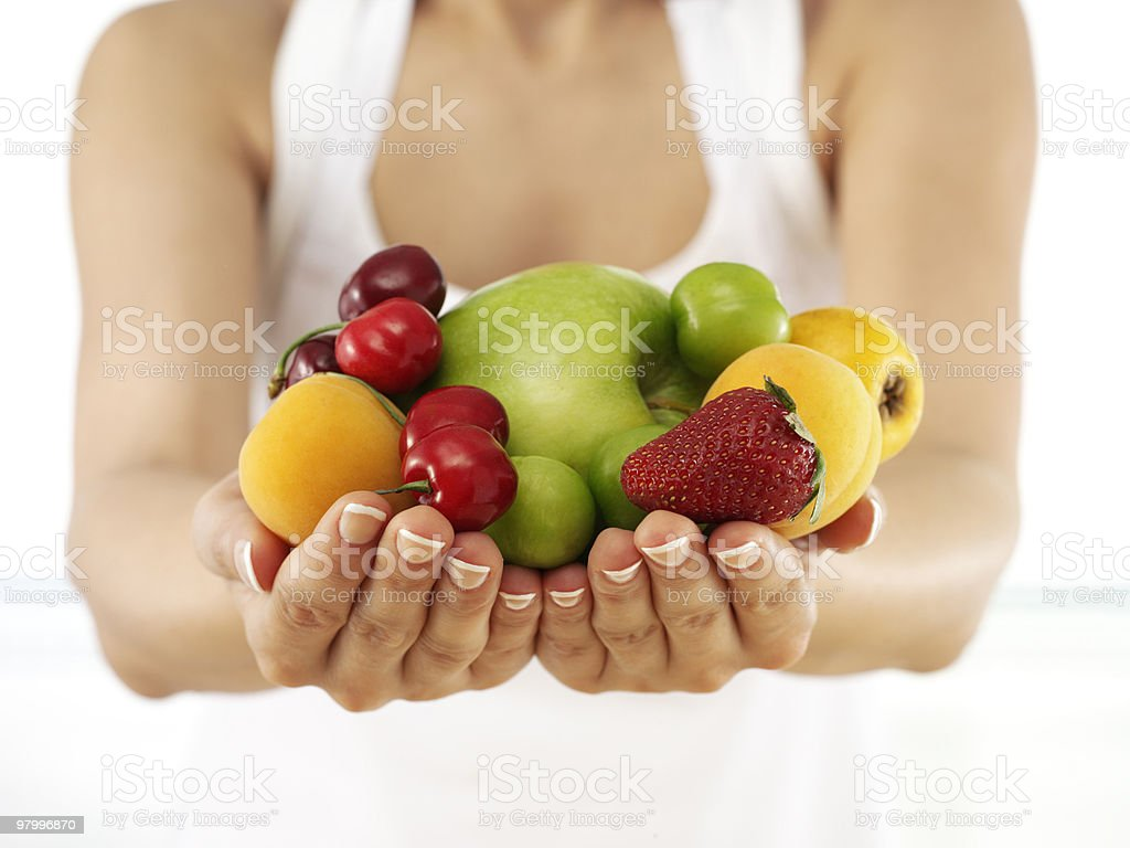 handfull of fruits royalty free stockfoto