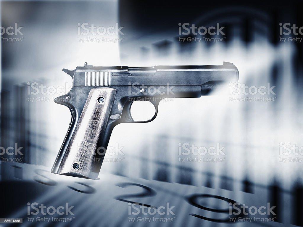 Handgun and bar code royalty-free stock photo