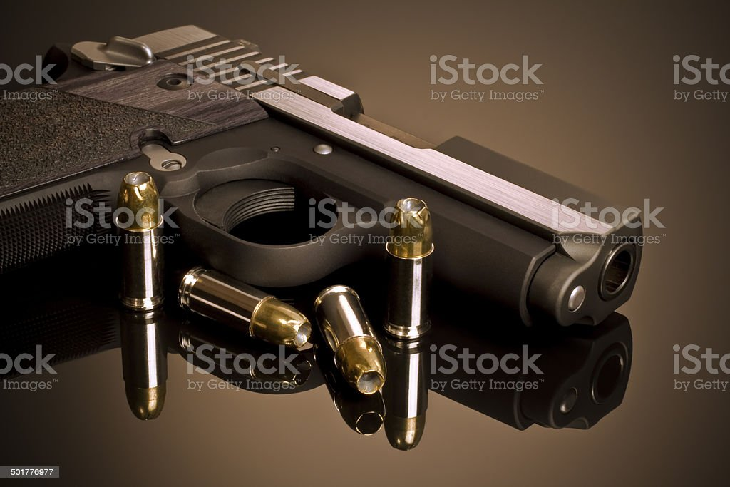 Handgun and Hollow Points stock photo