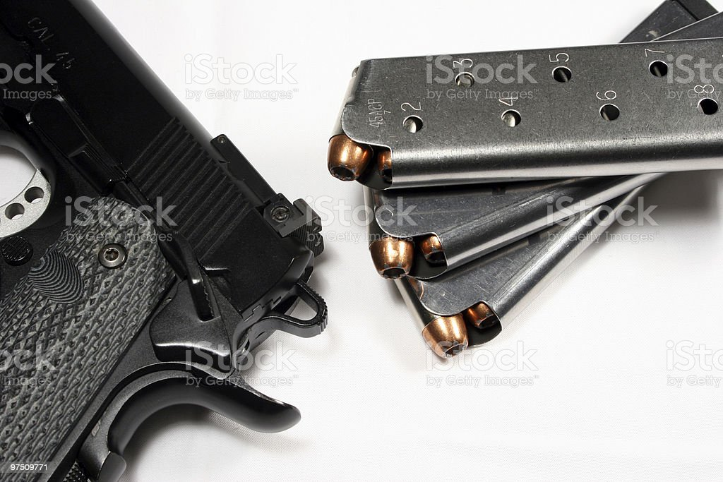 Handgun and Magazines royalty-free stock photo