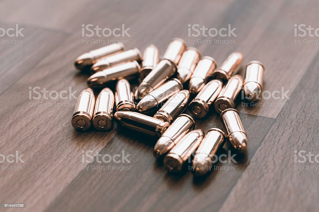 Handgun bullets. 9mm bullets stock photo