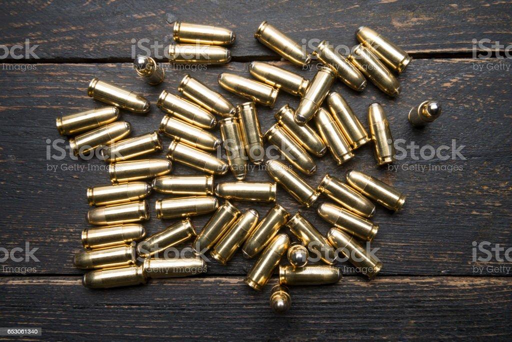 Handgun cartridges stock photo