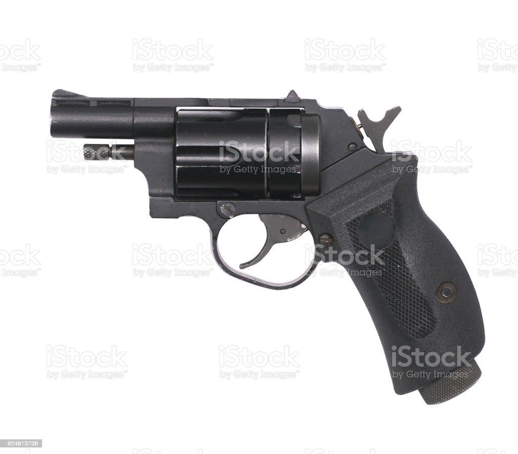 Handgun isolated on white background. stock photo