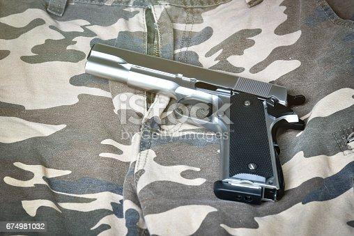 istock handgun on camouflage pant 674981032