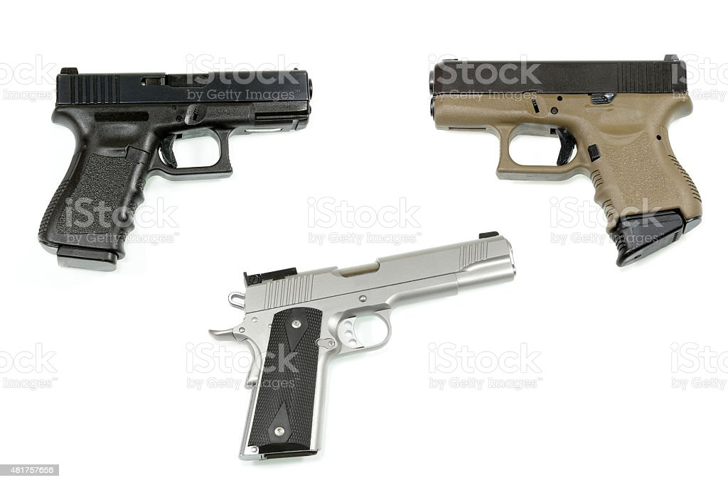 handgun on white background stock photo