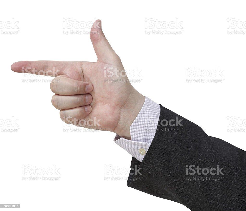 handgun sign - hand gesture stock photo