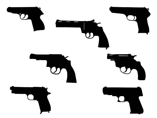 handgun silhouette collection stock photo