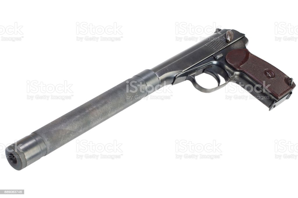 Handgun With Silencer On White Background Stock Photo & More ...