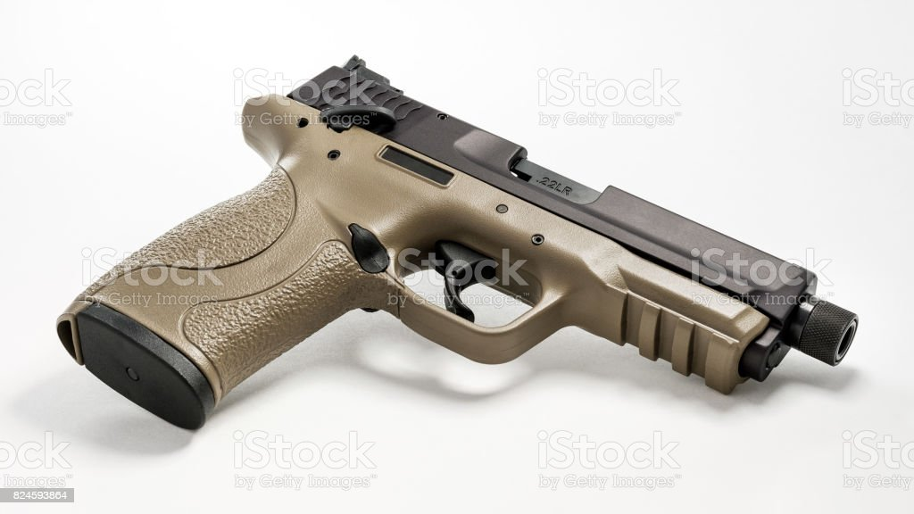 22 Handgun with Threaded Barrel stock photo