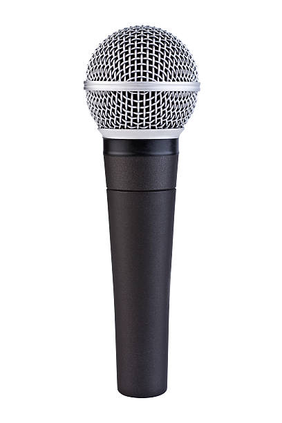 Handheld Microphone with Clipping Path A handheld ball head microphone with detailed texture. Isolated on white. Clipping path included. microphone stock pictures, royalty-free photos & images