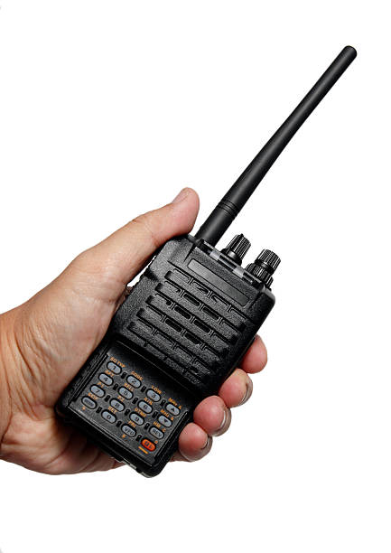 handheld radio transceiver on white background - ham radio stock photos and pictures
