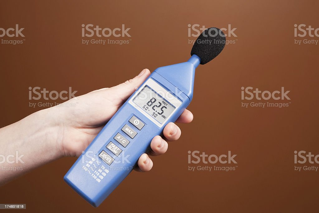Handheld Sound Level Meter for Noise Pollution stock photo