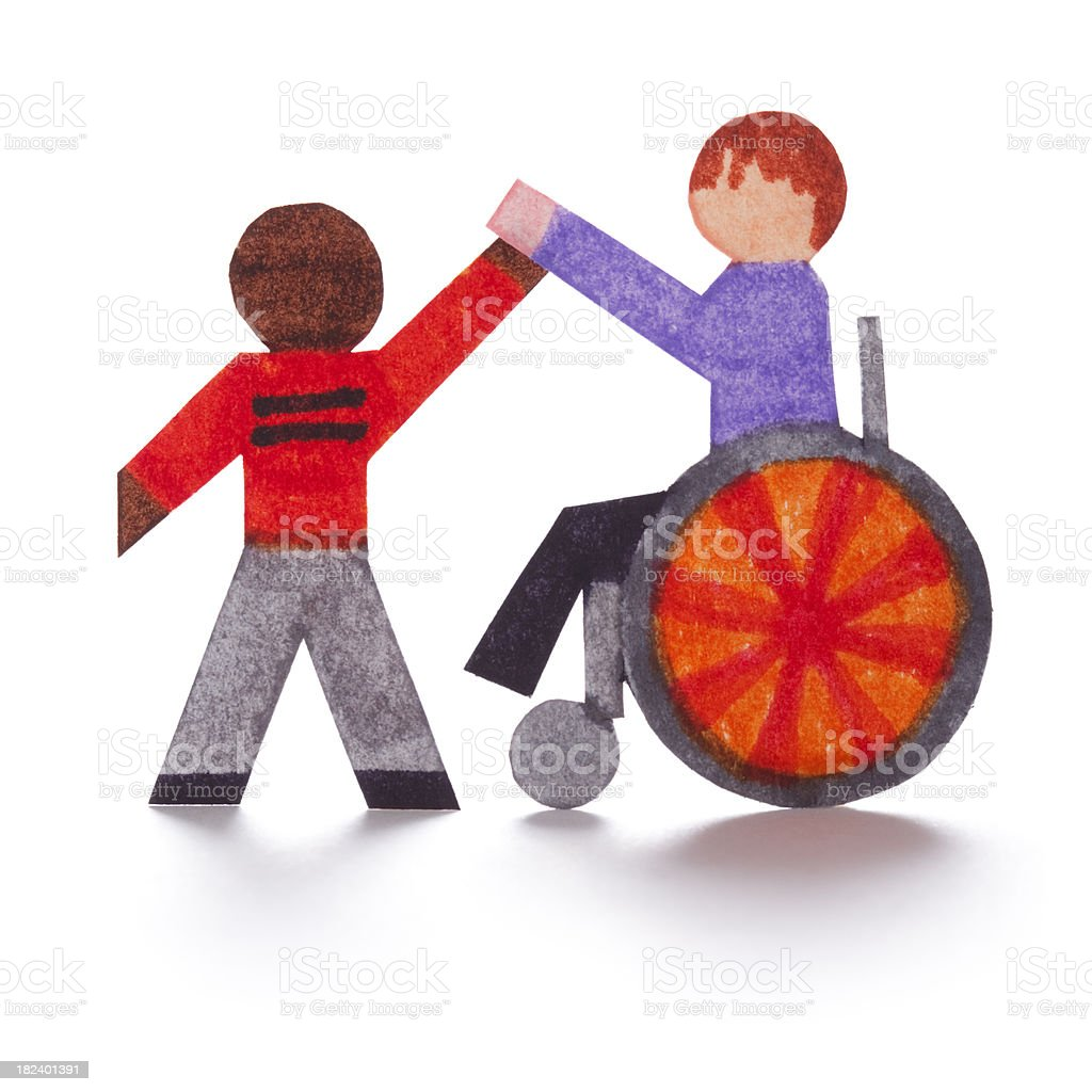 Handicap High Five Paper Cutouts Stock Photo More Pictures Of