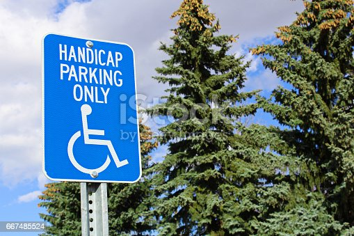 666724598istockphoto Handicap parking sign with trees in the background 667485524