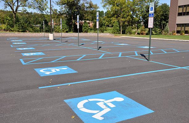 handicap parking spots stock photo