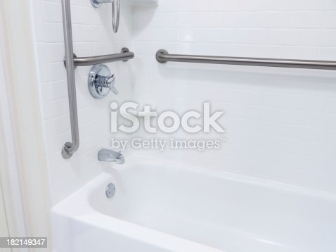 Handicapped disabled access bthroom shower with grab bars