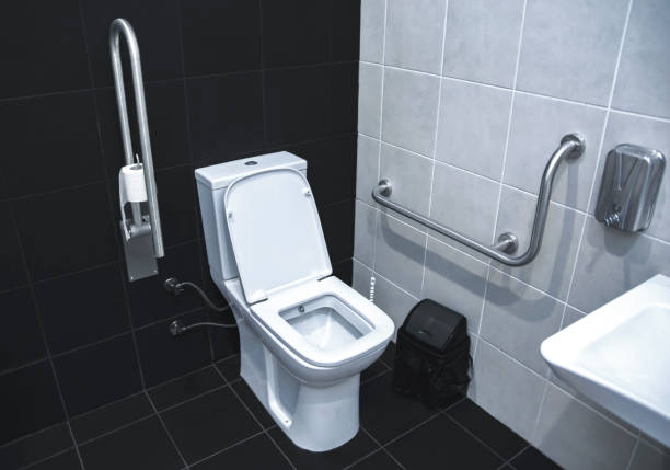 Handicapped accessible toilet stock photo stock photo