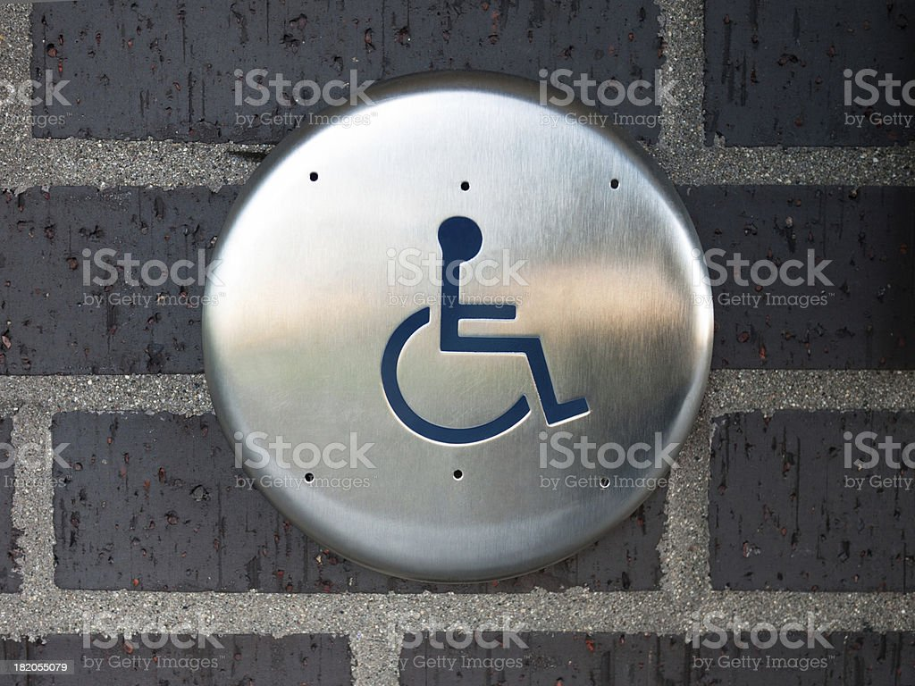 Handicapped Automatic Door Opener Button royalty-free stock photo