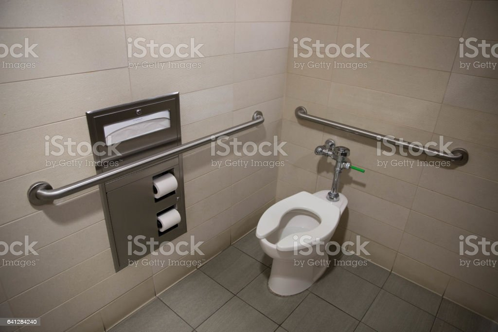 Handicap Bathroom Stall Property Handicapped Bathroom Stall With Toilet Rails And Toilet Paper .