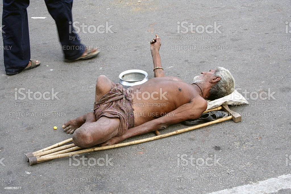 Handicapped beggar stock photo