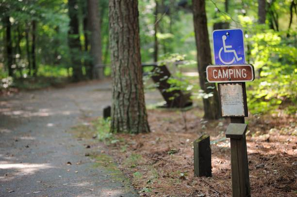 Handicapped camping sign in campground stock photo