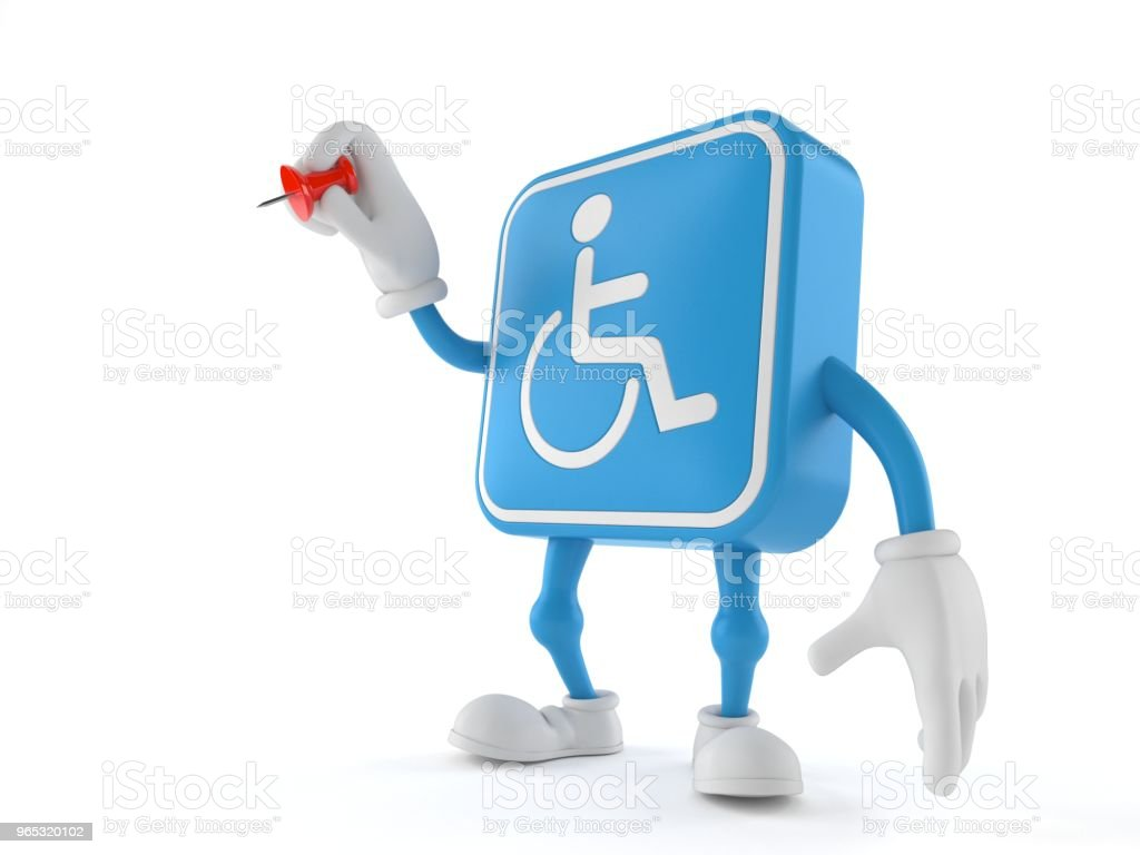 Handicapped character holding thumbtack royalty-free stock photo