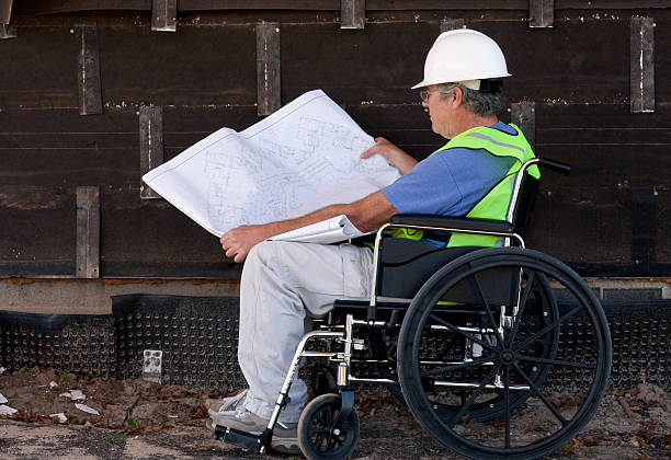 handicapped contractor stock photo