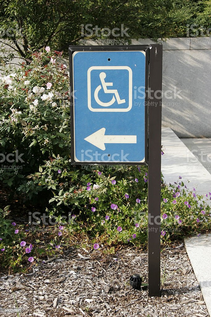 Handicapped Directional Sign royalty-free stock photo